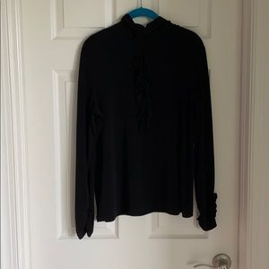 Black long sleeve ruffle on chest and sleeves